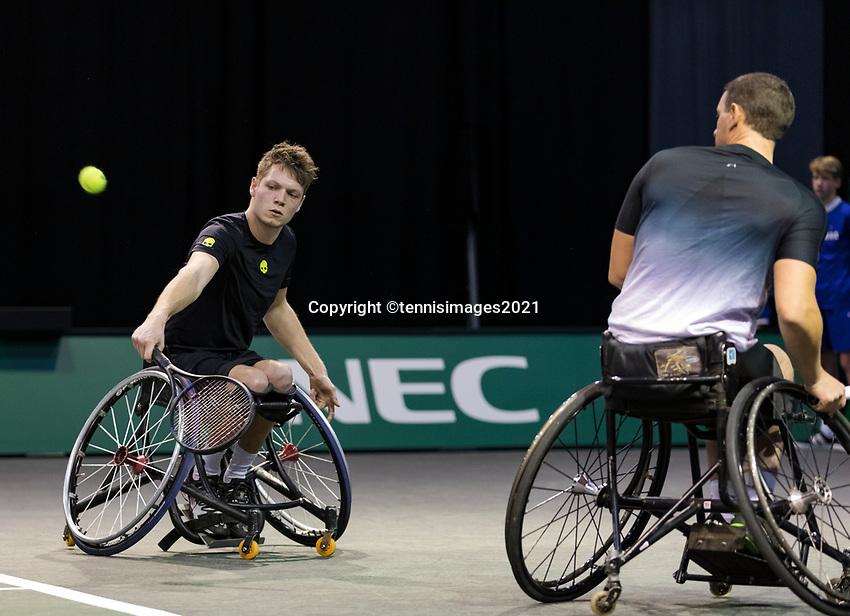 Rotterdam, The Netherlands, 5 march  2021, ABNAMRO World Tennis Tournament, Ahoy,  Quarter final wheelchair: Joachim Gerard (BEL) / Ruben Spaargaren (NED).<br /> Photo: www.tennisimages.com/henkkoster