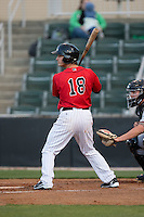 Grant Massey (18) of the Kannapolis Intimidators at bat against the Hickory Crawdads at Kannapolis Intimidators Stadium on April 7, 2016 in Kannapolis, North Carolina.  The Crawdads defeated the Intimidators 5-1.  (Brian Westerholt/Four Seam Images)
