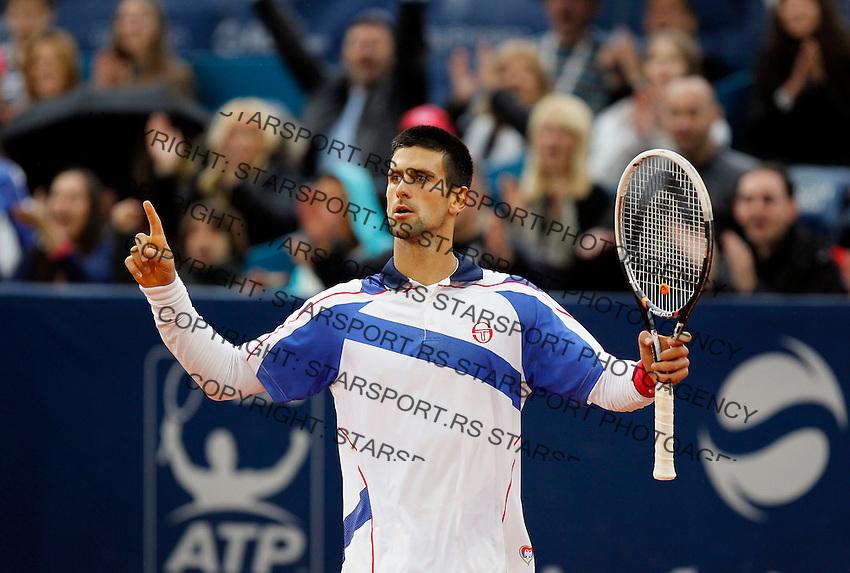 Tenis, Serbia Open 2011.Final.Novak Djokovic (SRB) Vs. Feliciano Lopez (ESP).Novak Djokovic, react.Beograd, 01.05.2011..foto: Srdjan Stevanovic