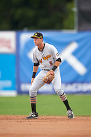 West Virginia Black Bears second baseman Kevin Mahala (5) during a game against the Batavia Muckdogs on August 21, 2016 at Dwyer Stadium in Batavia, New York.  West Virginia defeated Batavia 6-5.  (Mike Janes/Four Seam Images)