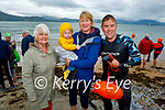 Kevin Kennedy get a warm reception have completed his swim from Derrymore to Fenit on Saturday morning. L to r: Kathleen Kennedy, Elizabeth Hobbs, baby Jonathan Kennedy Hobbs and Kevin Kennedy.