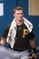 FCL Pirates Black Henry Davis (32) in the dugout during a game against the FCL Rays on August 3, 2021 at Charlotte Sports Park in Port Charlotte, Florida.  Davis was making his professional debut after being selected first overall in the MLB Draft out of Louisville by the Pittsburgh Pirates.  (Mike Janes/Four Seam Images)