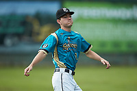 Mooresville Spinners starting pitcher Justin Jarvis (39) warms up prior to the exhibition game against the Race City Bootleggers at Moor Park on July 23, 2020 in Mooresville, NC. Jarvis was a 2018 5th round draft pick of the Milwaukee Brewers out of Lake Norman (NC) High School.  With the 2020 Minor League Baseball season canceled, Jarvis was given permission to pitch for the Spinners, who play in the Southern Collegiate Baseball League.  (Brian Westerholt/Four Seam Images)
