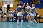GER - Wettingen, Switzerland, February 18: During the women semi-final hockey match between Mannheimer HC (white/grey) and Club Campo de Madrid (dark blue) on February 18, 2017 at Sporthalle Taegerhard in Wettingen, Switzerland. Final score 6-1 (HT 2-0). (Photo by Dirk Markgraf / www.265-images.com) *** Local caption ***