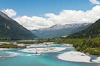 Taramakau River near Otira from a road towards the Arthur's Pass, West Coast, New Zealand