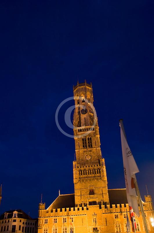 Belgium, Bruges, Belfry Tower at night