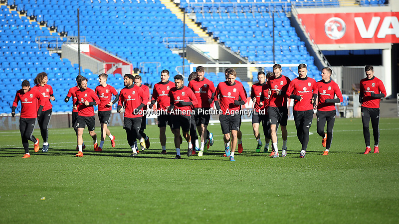 Players warm up during the Wales Press Conference and Training Session at The Cardiff City Stadium, Wales, UK. Monday 13 November 2017