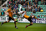 Hibernian 3 Alloa Athletic 0, 12/09/2015. Easter Road stadium, Scottish Championship. The home team's Dom Malonga (green shirt) in action at Easter Road stadium during second-half of the Scottish Championship match between Hibernian and visitors Alloa Athletic. The home team won the game by 3-0, watched by a crowd of 7,774. It was the Edinburgh club's second season in the second tier of Scottish football following their relegation from the Premiership in 2013-14. Photo by Colin McPherson.