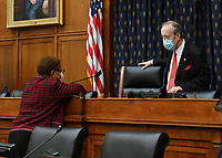 United States Representative Karen Bass (Democrat of California), left, talks with US Representative Eliot Engel (Democrat of New York), Chairman, US Souse Committee on Foreign Affairs, before a House Committee on Foreign Affairs hearing looking into the firing of State Department Inspector General Steven Linick, on Capitol Hill in Washington, D.C. on Wednesday, September 16, 2020. <br /> Credit: Kevin Dietsch / Pool via CNP /MediaPunch