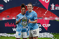 1st November 2020; Wembley Stadium, London, England; Womens FA Cup Final Football, Everton Womens versus Manchester City Womens; Demi Stokes and Lucy Bronze of Manchester City Women posing with the Womens FA Cup Final trophy