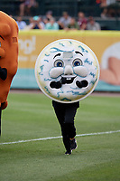 Buffalo Bisons mascot Blue Cheese in a race during a game against the Indianapolis Indians on August 17, 2017 at Coca-Cola Field in Buffalo, New York.  Buffalo defeated Indianapolis 4-1.  (Mike Janes/Four Seam Images)