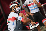 UAE Team Emirates at sign on before the start of Stage 5 of the 103rd edition of the Giro d'Italia 2020 running 225km from Mileto to Camigliatello Silano, Sicily, Italy. 7th October 2020.  <br /> Picture: LaPresse/Gian Mattia D'Alberto | Cyclefile<br /> <br /> All photos usage must carry mandatory copyright credit (© Cyclefile | LaPresse/Gian Mattia D'Alberto)