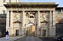 The Land Gate (Kopnena Vrata), crowned with Venetian winged lion, Zadar, Croatia.