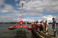 Hydros-PROP Seafair, Lake Washington, Seattle, Washington, USA 4 August,2002 .The Miss Budweiser is lowered to the water at Seafair..Copyright©F.Peirce Williams 2002..F. Peirce Williams.photography.P.O. Box 455 Eaton, OH 45320 USA.317.358.7326  fpwp@mac.com