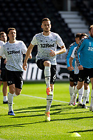 12th September 2020; Pride Park, Derby, East Midlands; English Championship Football, Derby County versus Reading; Mike Te Wierik of Derby County stretching and warming up before the match