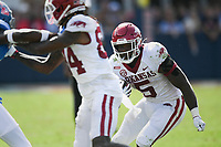 Arkansas running back Raheim Sanders (5) carries the ball, Saturday, October 9, 2021 during the fourth quarter of a football game at Vaught Hemingway Stadium in Oxford, Miss. Check out nwaonline.com/211010Daily/ for today's photo gallery. <br /> (NWA Democrat-Gazette/Charlie Kaijo)