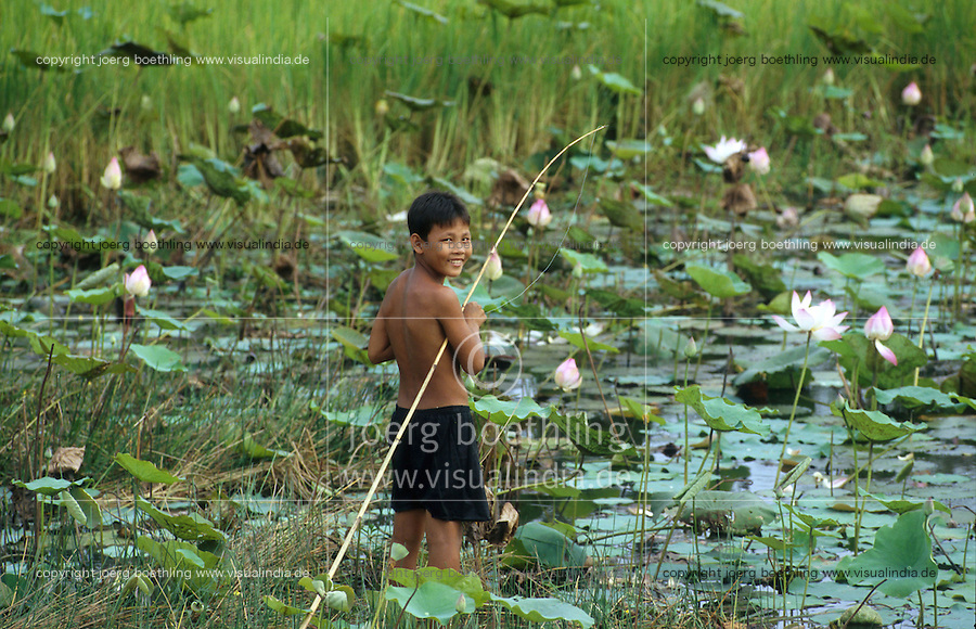 CAMBODIA, boy is fishing in Lotus pond / KAMBODSCHA, Junge angelt im Lotus Teich
