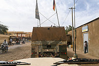 MALI, Gao, Minusma UN mission, german army Bundeswehr on patrol with Eagle armored vehicle in Gao city