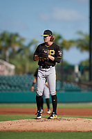 Pittsburgh Pirates pitcher Braeden Ogle (44) looks in for the sign during a Florida Instructional League game against the Detroit Tigers on October 6, 2018 at Joker Marchant Stadium in Lakeland, Florida.  (Mike Janes/Four Seam Images)