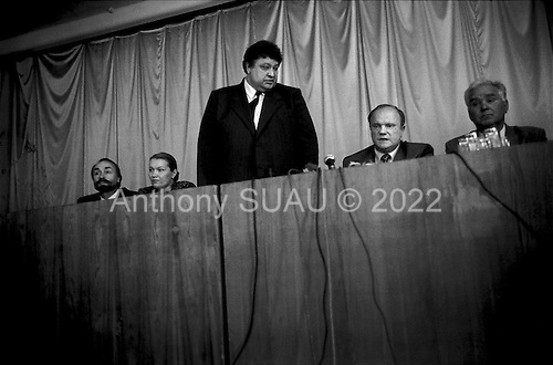 Novgorod, Russia.1996.Russian Communist Party leader Gennadi Zyuganov at a press conference..