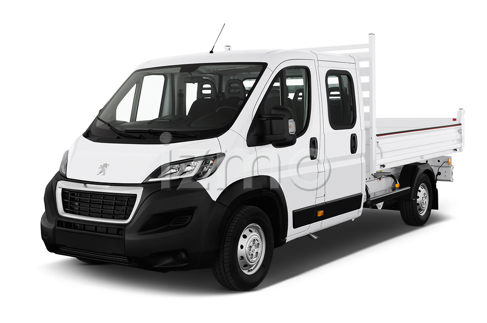 2019 Peugeot Boxer PRO-SR 4 Door Chassis Cab Angular Front stock photos of front three quarter view