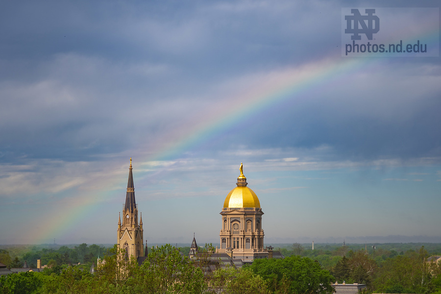 May 30, 2019; Rainbow over campus (Photo by Matt Cashore/University of Notre Dame)