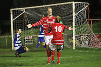 Tom Jeffes of Clapton scores the second goal and celebrates - Clapton vs Ilford - Essex Senior League Football at the Old Spotted Dog Ground, Upton Park, London - 01/10/13 - MANDATORY CREDIT: Gavin Ellis/TGSPHOTO - Self billing applies where appropriate - 0845 094 6026 - contact@tgsphoto.co.uk - NO UNPAID USE