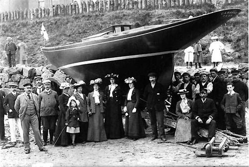 Garavogue on her first launching day in Portrush, 1903. Original owner W.Richardson is believed to be second-left, while it's thought that builder James Kelly is at the rudder. Photo courtesy Robin Ruddock
