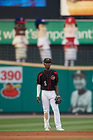 Rochester Red Wings shortstop Nick Gordon (1) during a game against the Lehigh Valley IronPigs on September 1, 2018 at Frontier Field in Rochester, New York.  Lehigh Valley defeated Rochester 2-1.  (Mike Janes/Four Seam Images)
