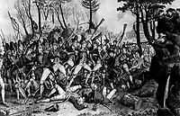 Battle of Lexington, April 19, 1775.  Copy of print by John Baker, 1832. (George Washington Bicentennial Commission)<br /> NARA FILE #:  148-GW-475<br /> WAR & CONFLICT #:  10