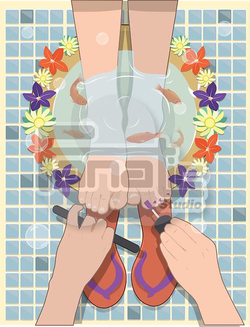 Illustration of woman having pedicure in salon