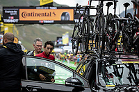 the race was neutralized due to bad weather conditions and Egan Bernal (COL/Ineos) was brought to the finish zone with a team car to receive his very first yellow jersey as GC leader <br /> <br /> Stage 19: Saint-Jean-de-Maurienne to Tignes (126km)<br /> 106th Tour de France 2019 (2.UWT)<br /> <br /> ©kramon