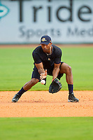 Eduardo Nunez #26 of the New York Yankees during fielding practice at Joseph P. Riley Park on July 2, 2013 in Charleston, South Carolina.  Rodriguez began a rehab stint with the Charleston RiverDogs, the South Atlantic League affiliate of the New York Yankees.   (Brian Westerholt/Four Seam Images)