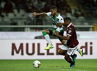 Calcio, Serie A: Torino - Sassuolo, Olympic stadium Grande Torino, August 25, 2019.<br /> Sassuolo's Jeremy Toljan (l) in action with Torino's Gleison Bremer (r) during the Italian Serie A football match between Torino and Sassuolo at Olympic stadium Grande Torino, August 25, 2019.<br /> UPDATE IMAGES PRESS/Isabella Bonotto