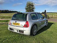 BNPS.co.uk (01202) 558833. <br /> Pic: Bonhams/BNPS<br /> <br /> Pictured: Rear of the year? Twin pipes for the V6 lump. <br /> <br /> A souped-up Renault Clio that once earned Jenson Button a ticking off from race organisers has emerged for sale for an incredible £42,000.<br /> <br /> The 2009 F1 World Champion drove the V6 hatchback at the Goodwood Festival of Speed in West Sussex in 2001.<br /> <br /> After racing it up the famous hill, Button treated the crowd to some donuts, leading to a stern telling off from a nearby marshal.