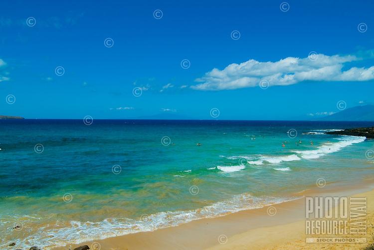 The beautiful white sand Makena Beach on Maui, also known as Big Beach.