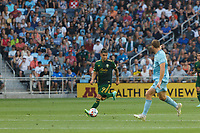 ST PAUL, MN - JULY 24: Felipe Mora #9 of the Portland Timbers during a game between Portland Timbers and Minnesota United FC at Allianz Field on July 24, 2021 in St Paul, Minnesota.