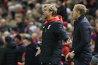 Liverpool Manager Jurgen Klopp  reacts to play during the Barclays Premier League Match between Liverpool and Swansea City played at Anfield, Liverpool on 29th November 2015