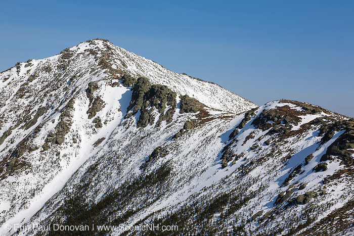 Mount Lincoln from Little Haystack Mountain in the White Mountains, New Hampshire during the winter season. The scenic 2,180+ mile long Appalachian Trail travels over this mountain summit.