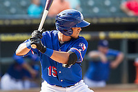 Round Rock Express shortstop Luis Sardinas (15) at bat during the first game of a Pacific Coast League doubleheader against the Memphis Redbirds on August 3, 2014 at the Dell Diamond in Round Rock, Texas. The Redbirds defeated the Express 4-0. (Andrew Woolley/Four Seam Images)