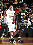 Grambling State Tigers center Peter Roberson (40) and Alabama State Hornets forward Tramayne Moorer (2) in action during the SWAC Championship game between the Alabama State Hornets and the Grambling State Tigers at the Special Events Center in Garland, Texas. Alabama State defeats Grambling State 65 to 48.