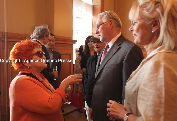 August 27 2012 - Montreal (Qc) CANADA - <br /> The jury of the 2012 World Film Festival at  Montreal City hall.<br /> (Left to right) : Vera Belmont,Gerald Tremblay, Mayor of Montreal, Helen Foutopoulos.<br /> <br /> <br /> The World Films Festival 35th edition run til September 2012.