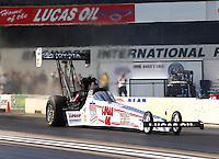 Aug 15, 2014; Brainerd, MN, USA; NHRA top fuel dragster driver Morgan Lucas during qualifying for the Lucas Oil Nationals at Brainerd International Raceway. Mandatory Credit: Mark J. Rebilas-