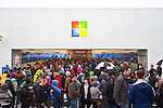 """Seattle, Microsoft, grand opening of Microsoft's first retail store, October 20, 2011, Seattle's University Village shopping center, Washington State, United States, Microsoft's """"bricks and mortar"""" experiment opened directly across the parking lot from Apple's long established retail store."""