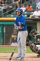 Matt Szczur (8) of the Iowa Cubs at bat against the Salt Lake Bees in Pacific Coast League action at Smith's Ballpark on August 21, 2015 in Salt Lake City, Utah. The Bees defeated the Cubs 12-8.  (Stephen Smith/Four Seam Images)
