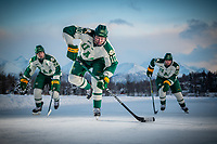 UAA Seawolves Hockey #10 forward Tanner Schachle, #23 forward Eric Sinclair, and #13 forward Alex Frye on the ice at Anchorage's Westchester Lagoon.