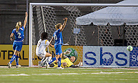 Los Angeles Sol forward Han Duan (9) goal is disallowed. The Boston Breakers defeated Los Angeles Sol, 2-1, at Harvard Stadium on May 2, 2009.