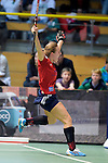 GER - Luebeck, Germany, February 06: During the 1. Bundesliga Damen indoor hockey semi final match at the Final 4 between Berliner HC (blue) and Duesseldorfer HC (red) on February 6, 2016 at Hansehalle Luebeck in Luebeck, Germany. Final score 1-3 (HT 0-1). (Photo by Dirk Markgraf / www.265-images.com) *** Local caption *** Darja Moellenberg #11 of Duesseldorfer HC celebrates after scoring