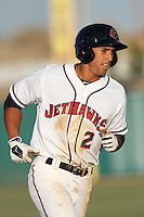 George Springer #2 of the Lancaster JetHawks runs the bases against the Lake Elsinore Storm at Clear Channel Stadium on May 11, 2012 in Lancaster,California. (Larry Goren/Four Seam Images)