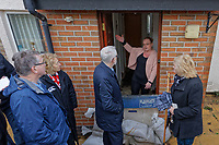 Pictured: Jeremy Corbyn speaks to local resident Selena Adamiec, whose house was damaged by the flood. Thursday 20 February 2020<br /> Re: Jeremy Corbyn, the leader of the Labour Party visits the area of Rhydyfelin near Pontypridd, south Wales, UK.